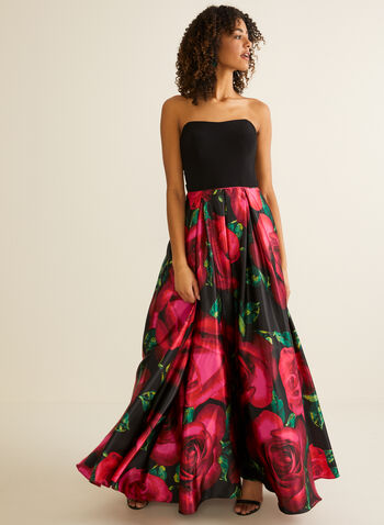 Strapless Floral Ball Gown, Black,  prom dress, ball gown, floral, strapless, jersey, satin, sweetheart, pockets, crinoline, spring summer 2020