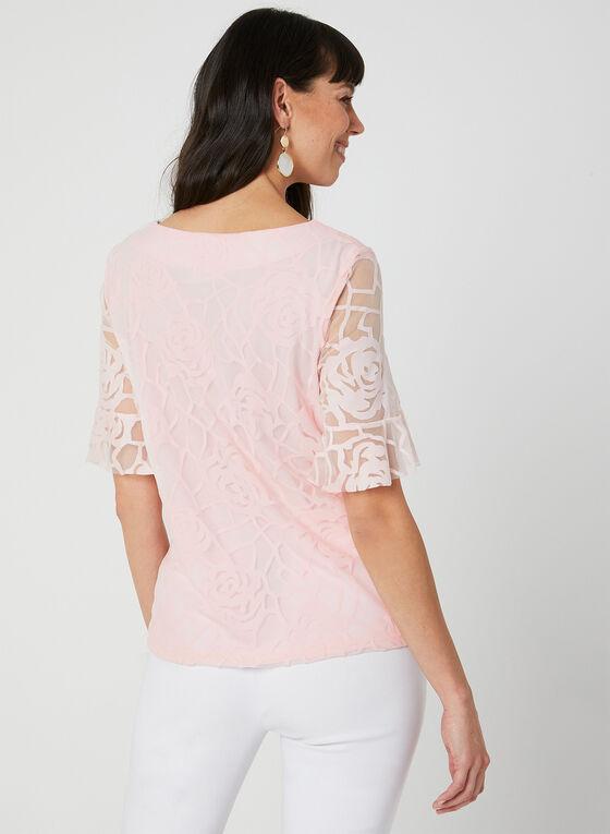Floral Print Mesh Top, Pink, hi-res