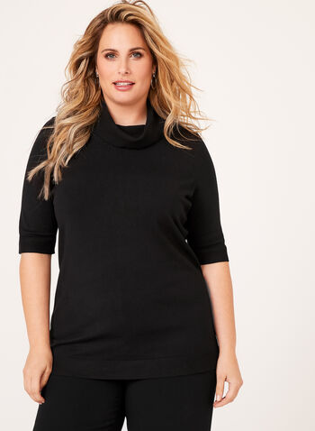 Short Sleeve Cowl Neck Sweater, Black, hi-res
