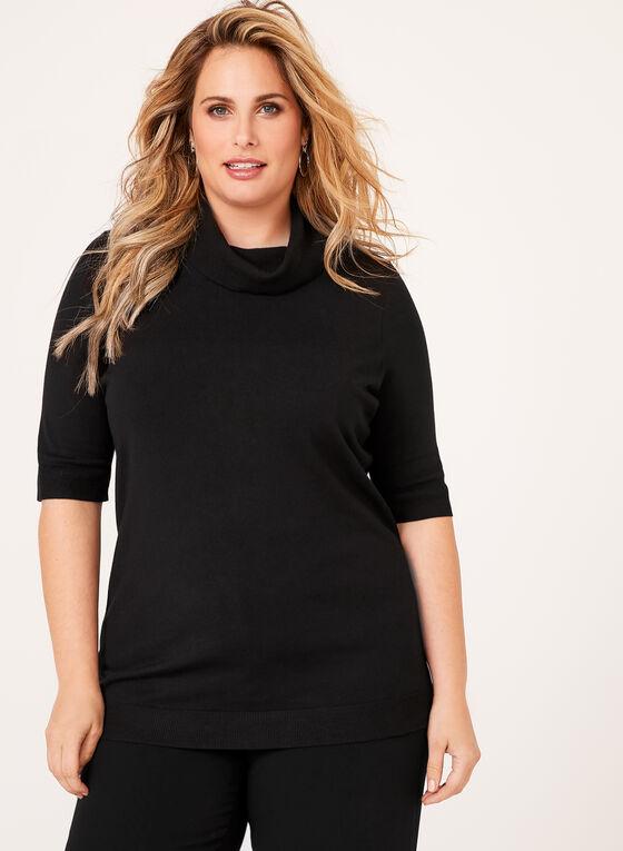 Short Sleeve Cowl Neck Sweater, Black, hi-res