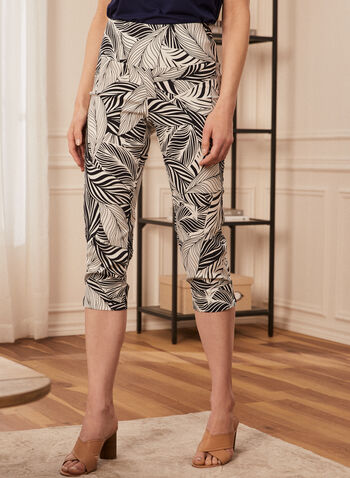 Palm Print Pull On Capris, White,  spring summer 2021, palm print, palm leaf print, pull on, pull-on, elastic wasit, capris, side slits, slim leg, made in Canada, pants, bottoms