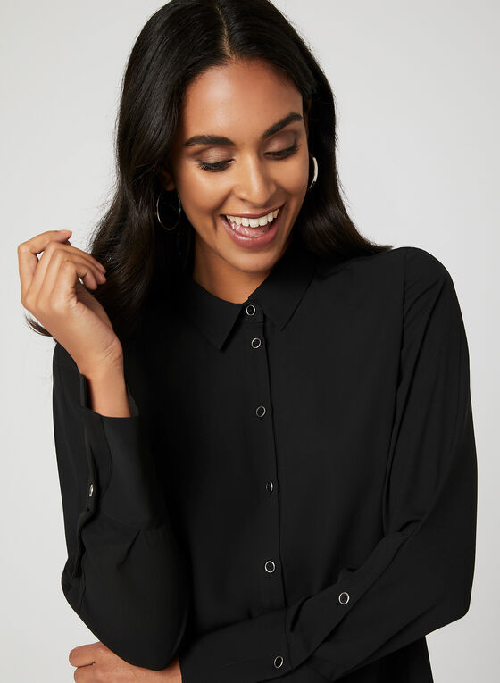 Long Sleeve Button Down Blouse, Black, hi-res