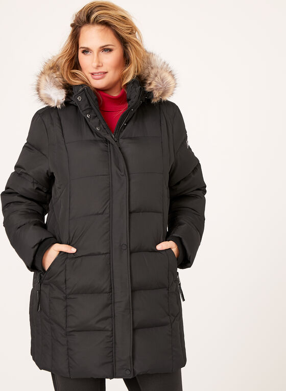Novelti - Removable Faux Fur Quilted Coat, Black, hi-res