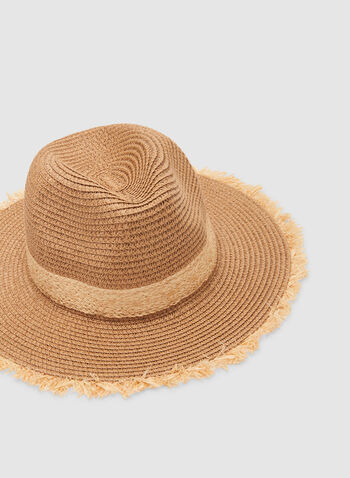Frayed Straw Hat, Off White,  hat, paper, spring 2019, summer 2019