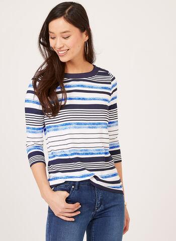 T-shirt rayé à manches ¾ et boutons décoratifs, Bleu, hi-res