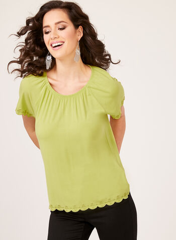 Embroidered Detail Top, Green, hi-res