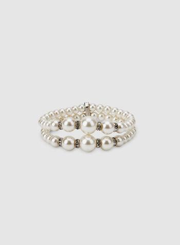 Bracelet extensible à perles, Blanc cassé, hi-res,  bracelet, perles, double, billes, cristaux, automne hiver 2019