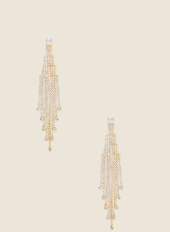 Chandelier Earrings, Gold,  fall winter 2020, earrings, crystals, dangle, holiday, holiday 2020