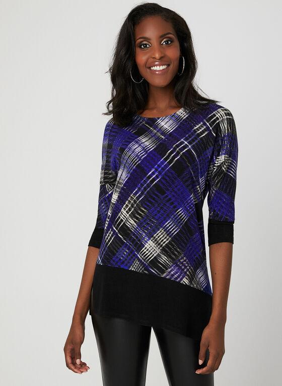 Asymmetric Knit Top, Black, hi-res
