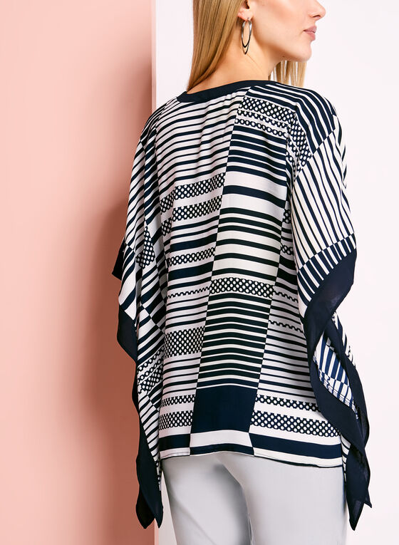 Stripe & Dot Print Poncho Blouse, Blue, hi-res