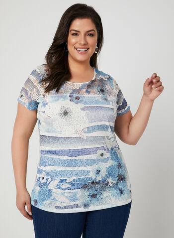 T-shirt à imprimés variés et cristaux, Bleu, hi-res