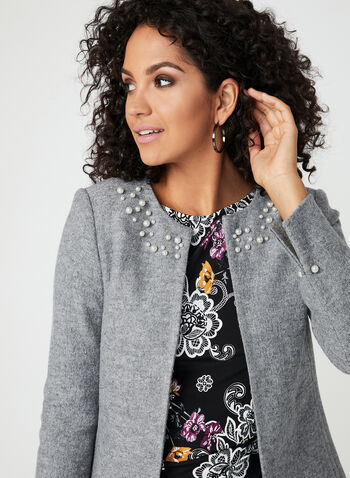 Pearl Embellished Cropped Jacket, Grey, hi-res