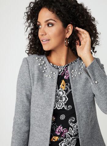 Blazer en laine mélangée à détails perles, Gris, hi-res