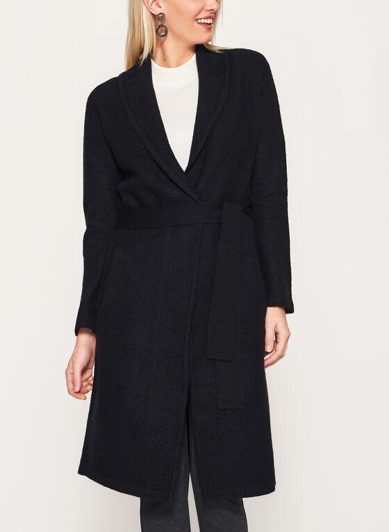 Open Front Wool Coat, Black, hi-res