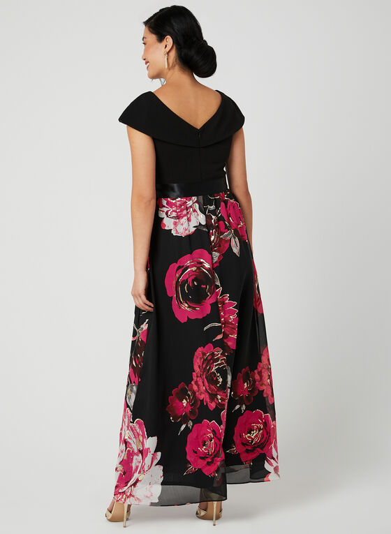 Robe à jupe fleurie en mousseline, Noir