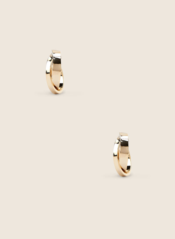 Double Ring Earrings, Gold