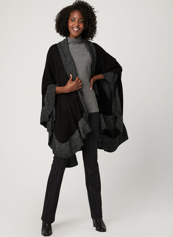 Open Front Knit Poncho, Black, hi-res