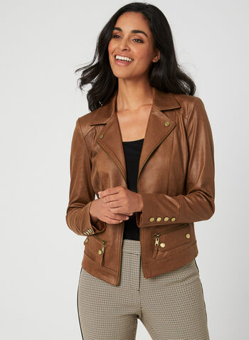 Notch Collar Jacket, Brown,  notch collar, zippers, open front, faux suede, vegan, fall 2019, winter 2019, long sleeves