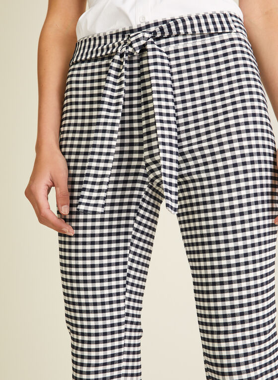 Meg & Margot - Gingham Print Pull-On Capris, Blue