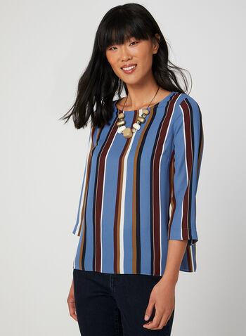 Blouse rayée en crêpe, Bleu, hi-res,  blouse, manches 3/4, col dégagé, rayures, crêpe, automne hiver 2019