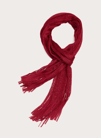 Foulard alvéolé à brillants et franges, Rouge, hi-res