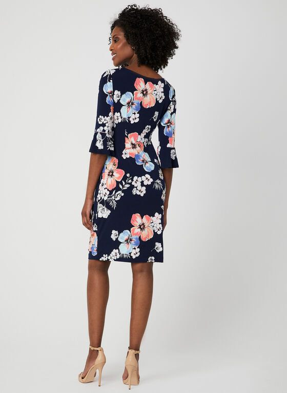 Floral Print ¾ Sleeve Dress, Blue