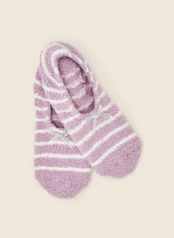 Bow Detail Slipper Socks, Purple,  gift, holiday 2020, holiday, socks, fluffy, textured, bow, ankle, fall winter 2020