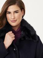 Marcona - Faux Fur Trim Wool Blend Coat, Blue, hi-res