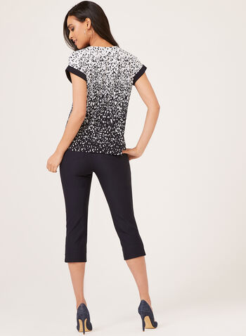 Abstract Print Zip Detail Top, Black, hi-res