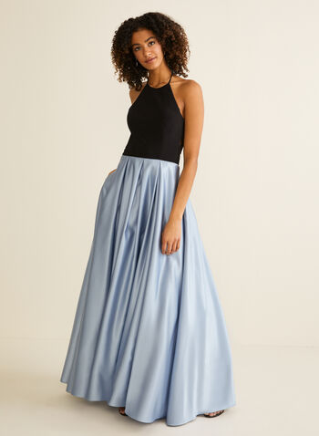 Halter Neck Ball Gown, Blue,  prom dress, ball gown, satin, jersey, halter neck, pockets, sleeveless, open back, crinoline, spring summer 2020