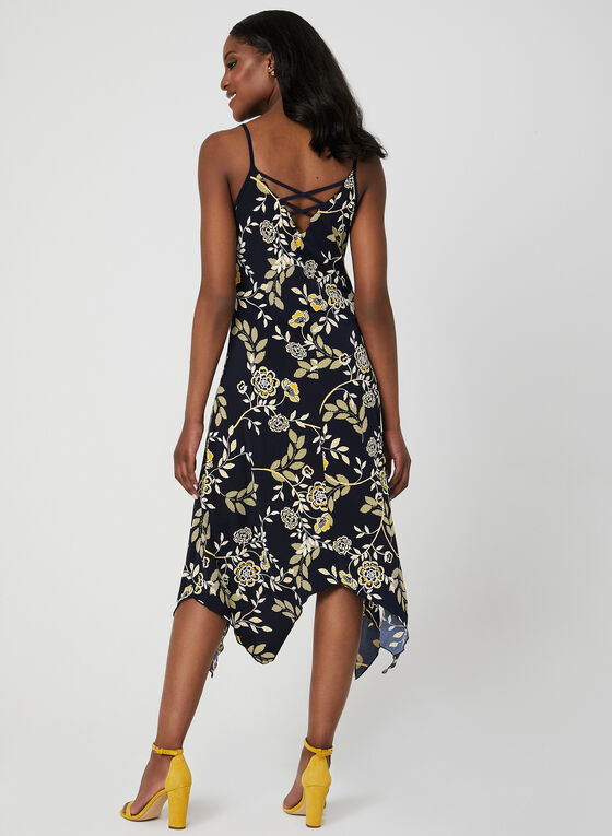 Laced Back Puff Print Dress, Blue