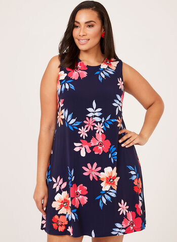 Jessica Howard – Sleeveless Floral Print Shift Dress, Blue, hi-res