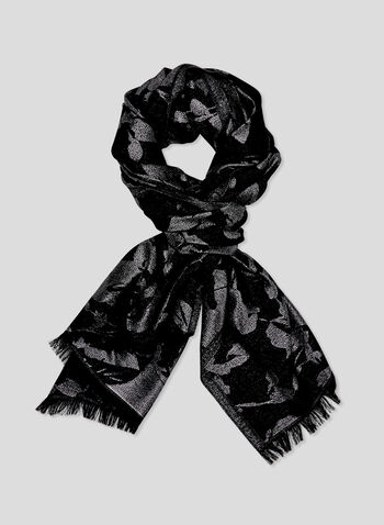 Foulard métallique à imprimé floral, Noir, hi-res