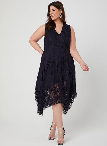 Fit & Flare Lace Dress, Blue, hi-res,  stretch, empire waist, midi length, shark bite