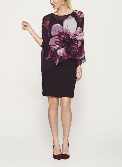 Robe poncho à manches 3/4 avec fleurs, Pourpre, hi-res