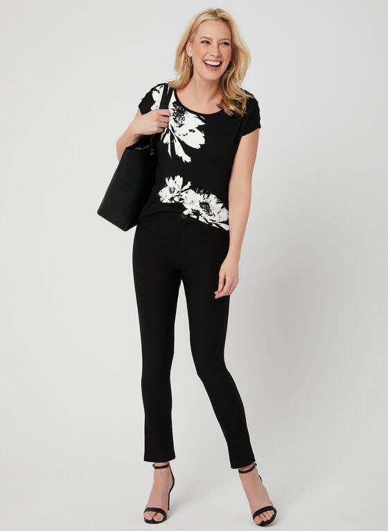 T-shirt à fleurs et cristaux, Noir