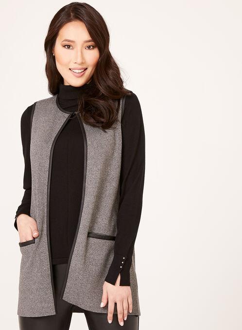 Faux Leather Trim Knit Vest, Black, hi-res