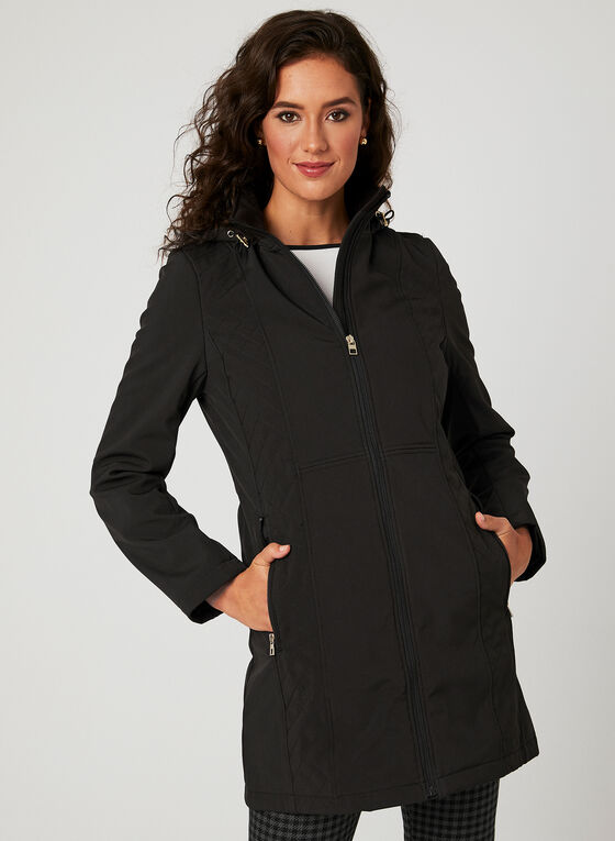 Anne Klein - Manteau de transition à capuchon, Noir, hi-res