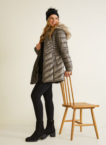 Laundry by Shelli Segal - Quilted Vegan Down Coat, Grey,  coat, quilted, vegan down, hood, snap buttons, fall winter 2020