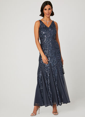 Robe en maille filet et sequins, Gris, hi-res