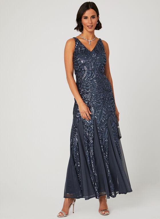 Sequin Embellished Mesh Dress, Grey, hi-res