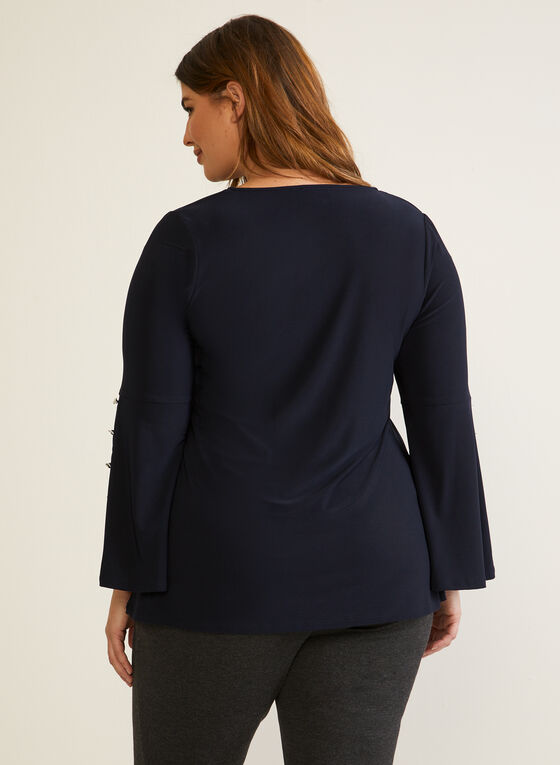 Button Detail Bell Sleeve Top, Blue