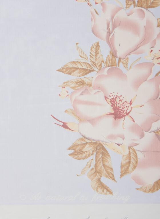 Light Floral Print Scarf , Blue