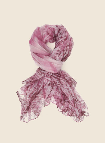 Abstract Print Lightweight Scarf, Pink,  scarf, lightweight, abstract print, fall winter 2020