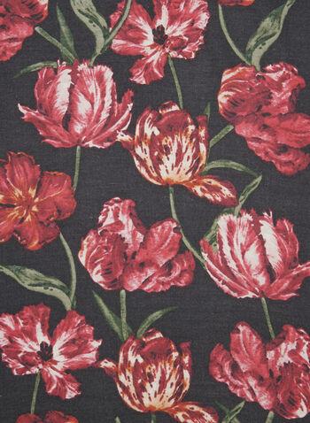 Écharpe fleurie , Noir, hi-res,  écharpe, fleurs, douceur, automne hiver 2019