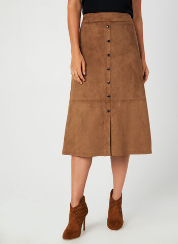 Faux Suede Skirt, Brown, hi-res,  fall winter 2019, faux suede, A-line,