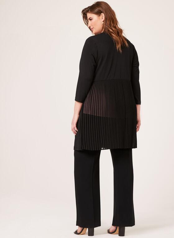 Linea Domani - Cardigan avec mousseline plissée au dos, Noir, hi-res