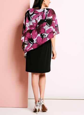Floral Print Cold Shoulder Poncho Dress, Red, hi-res