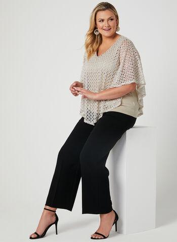 Crochet Poncho Top, Off White, hi-res,  asymmetric, spring 2019, short sleeves