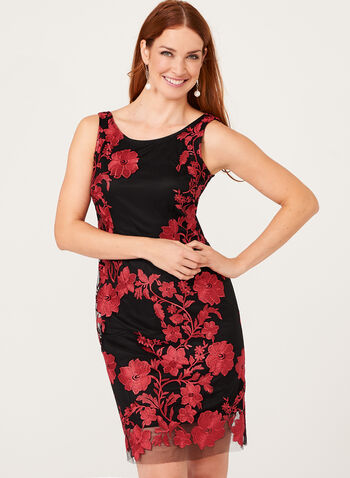 Embroidered Mesh Sheath Dress, , hi-res
